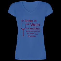 a8961216cf367e Damen T-Shirt mit V-Ausschnitt. Ich liebe es mit Wein ...