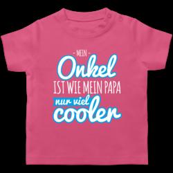 Mein Onkel ist wie Mein Papa nur viel Cooler lila Spr/üche Baby Baby T-Shirt Kurzarm