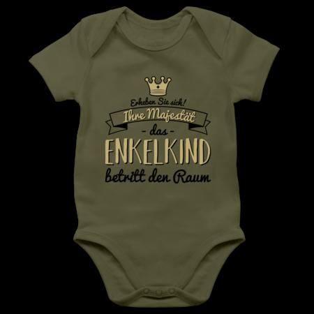 Perfekte /Überraschung f/ür Oma und Opa Ihre Majest/ät Das Enkelkind Betritt Den Raum Bio Baby T-Shirt