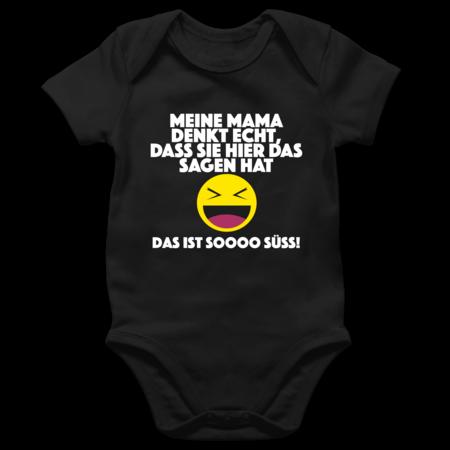 Sprüche Baby Meine Mama Denkt Echt Dass Sie Hier Das Sagen Hat Das Ist Soooo Süß Baby Body Kurzarm Schwarz 1218 Monate